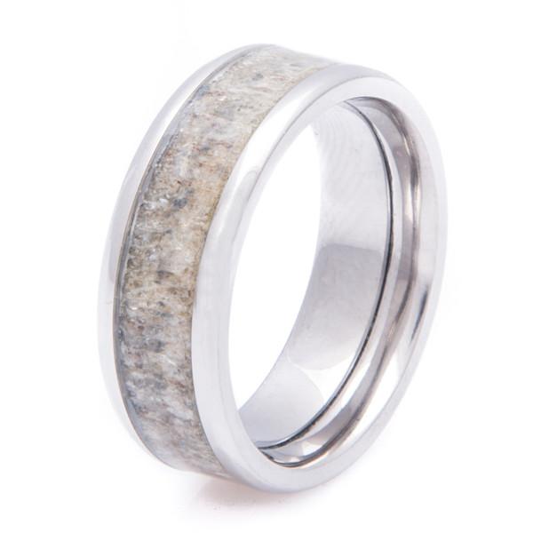 Deer Antler Inlay Ring Unique Titanium Rings Amp More