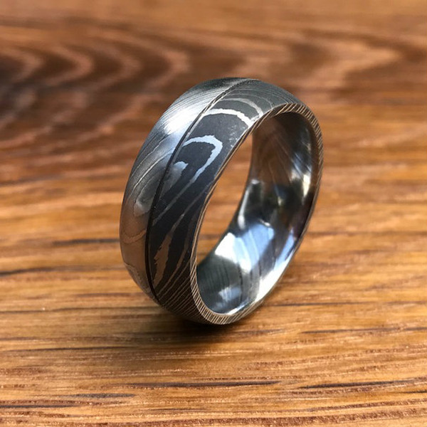 Mens Dual Finish Damascus Steel Ring With Center Groove