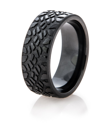 Mens Black Goodyear Mud Tire Ring Titanium Buzz