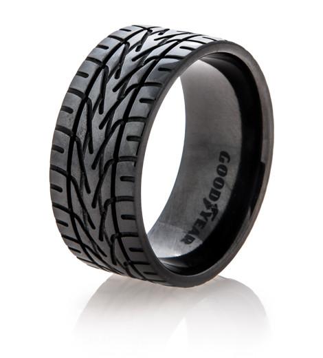 Black Goodyear NASCAR Tire Tread Ring Titanium Buzz