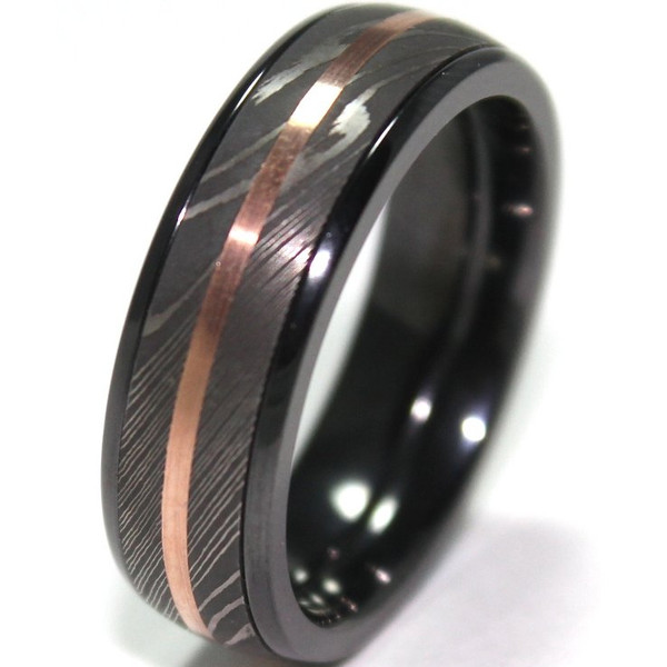 Mens Black Zirconium Ring With Damascus Steel And 14K