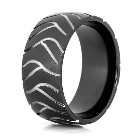 Mens Black Super Cycle Motorcycle Ring Titanium Buzz