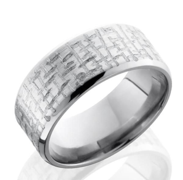 Beveled Textured Titanium Ring Unique Titanium Rings