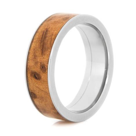 Mens Titanium And Thuya Burl Wood Ring