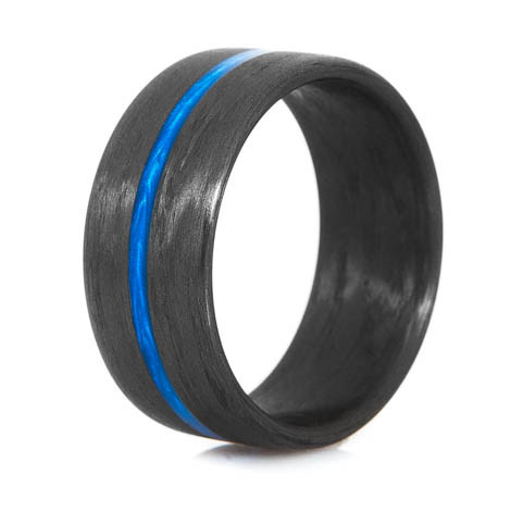 Thin Blue Line Carbon Fiber Ring Wide Unique Titanium