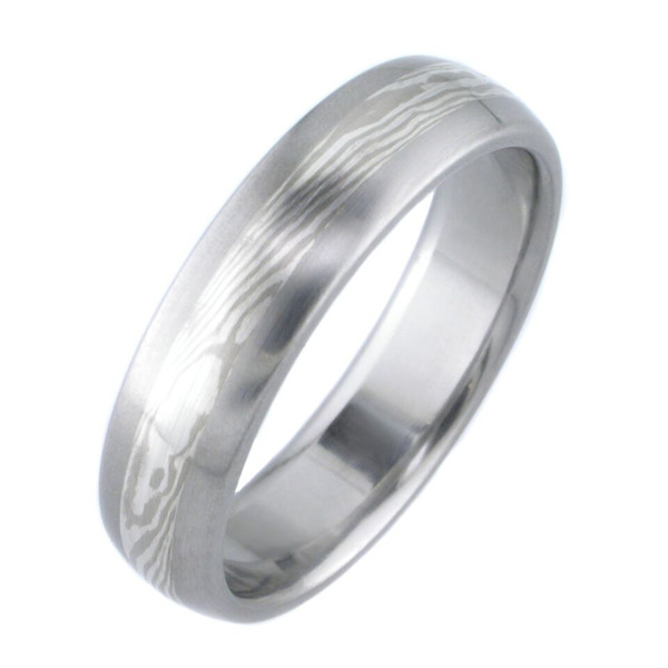 White Gold And Silver Twist Mokume Ring By Titanium Buzz