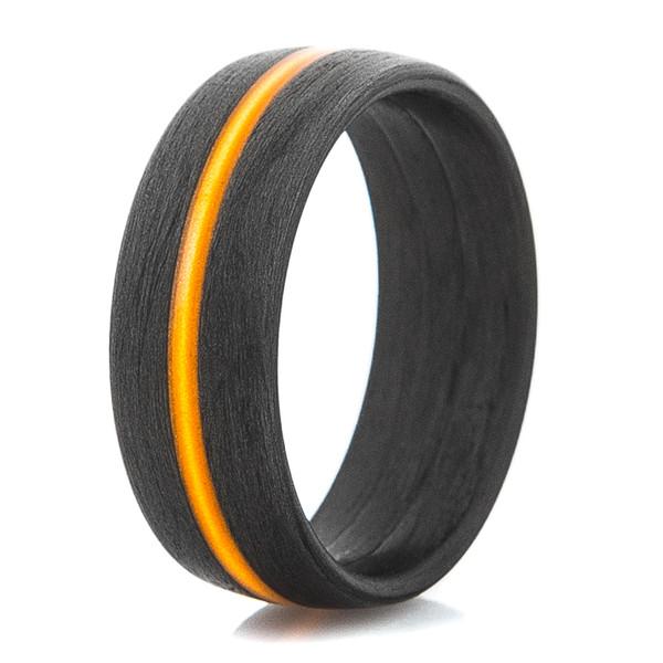 Mens Carbon Fiber Ring With Thin Orange Line Titanium Buzz