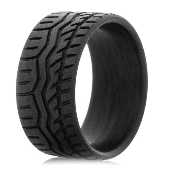 Carbon Fiber Drift Tire Wedding Band Titanium Buzz