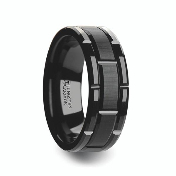 Mens Beveled Black Tungsten Carbide Wedding Band With