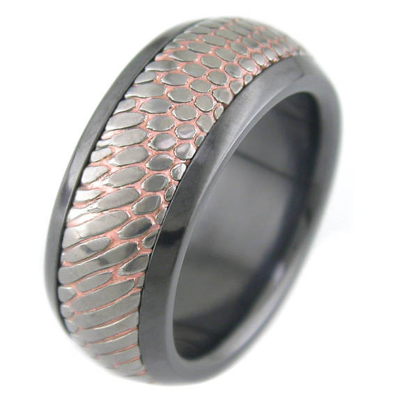 Mens Black Zirconium Sleeve Carved Superconductor Ring