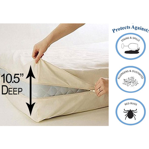 Linen Deluxe Vinyl Zippered Mattress Protector Cover