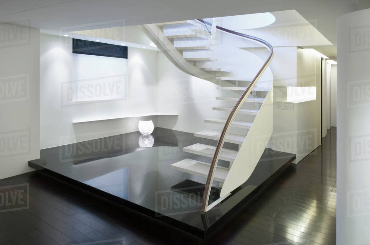 Modern White Staircase With Glass Banister Stock Photo Dissolve | White And Glass Staircase | Before And After | American White Oak | Luxurious | High End Glass | White Handrail Treads