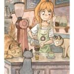Artstation Blue Cat Cafe Illustration Alexander Lee