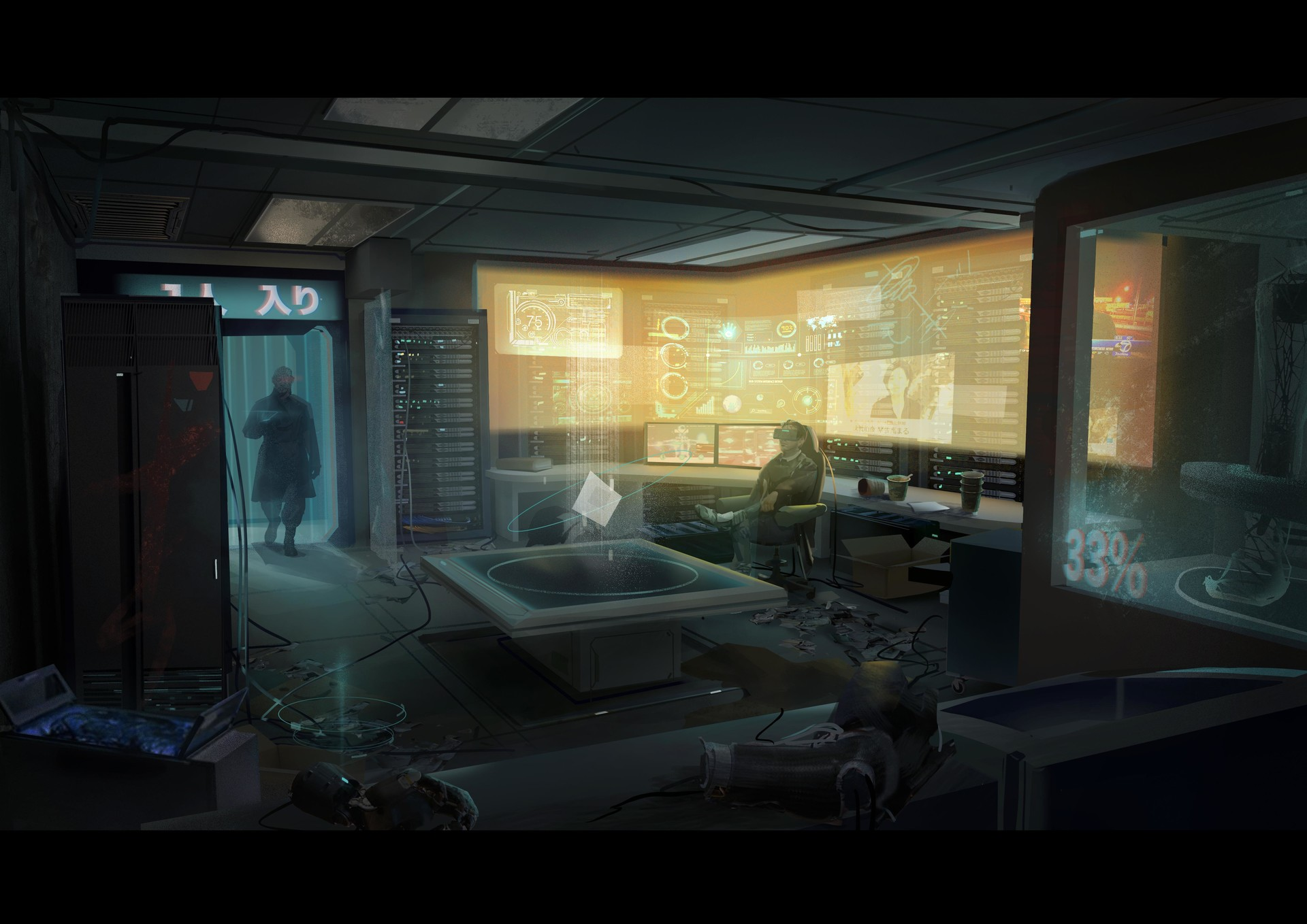 Artstation Cyberpunk Meeting Hacker S Room Rita Yuwei Li