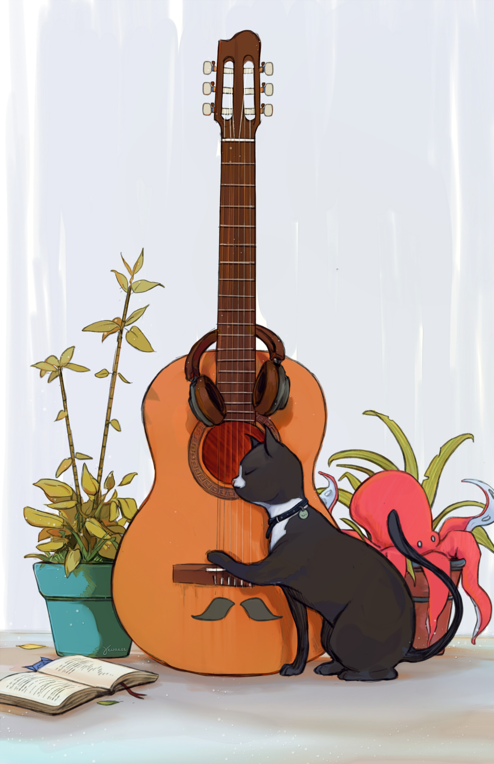 Artstation A Cat Playing Happy Birthday On The Guitar Yewrezz