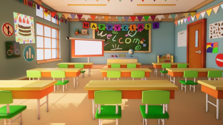 InCom Studio 3D - Asset - Class room - 3D model for Cartoons
