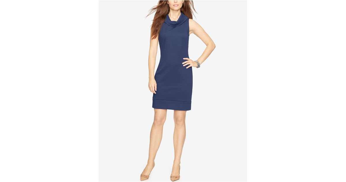 American Living Cowl-neck Sleeveless Sheath Dress In Blue