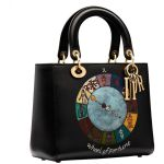 Dior Leather Lady Wheel Of Fortune Handpainted Motherpeace Tarot Handbag In Black Lyst