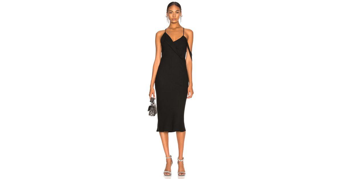 Michelle Mason Midi Dress With Draped Cowl Neck In Black
