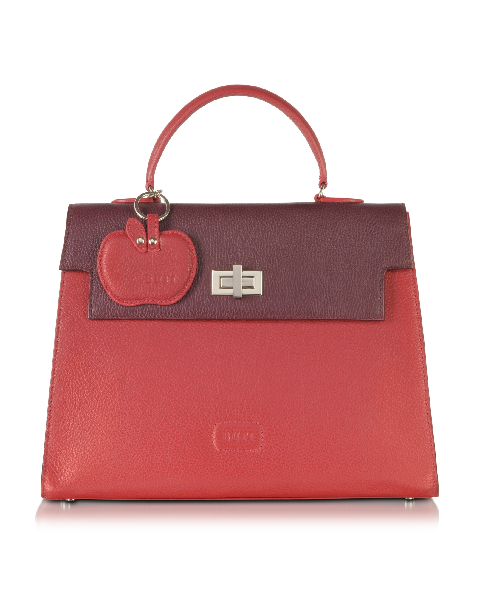 Lyst Buti Color Block Embossed Leather Satchel Bag In Red
