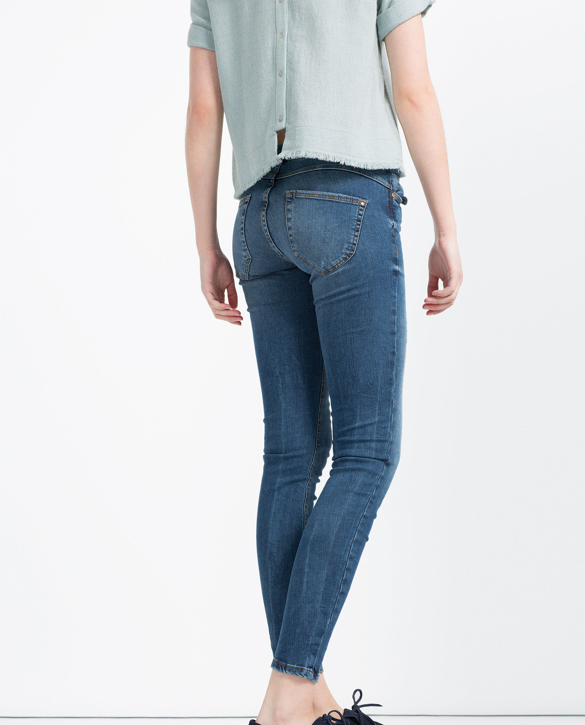 Zara Push Up Jeans In Blue Lyst