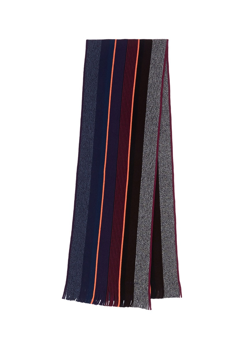 Paul Smith Stripe Wool Scarf For Men Lyst