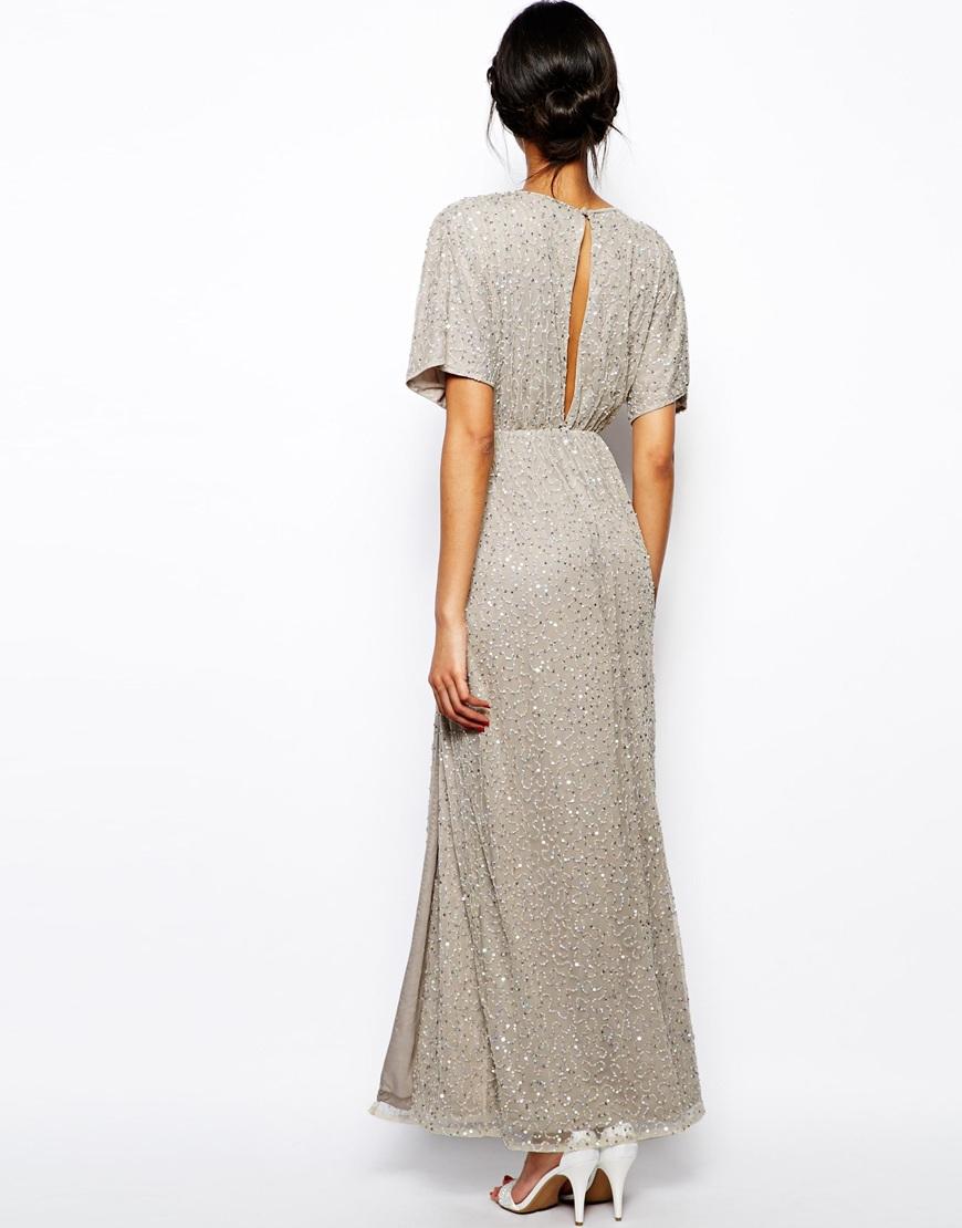 Lyst Asos Sequin Kimono Maxi Dress In Gray