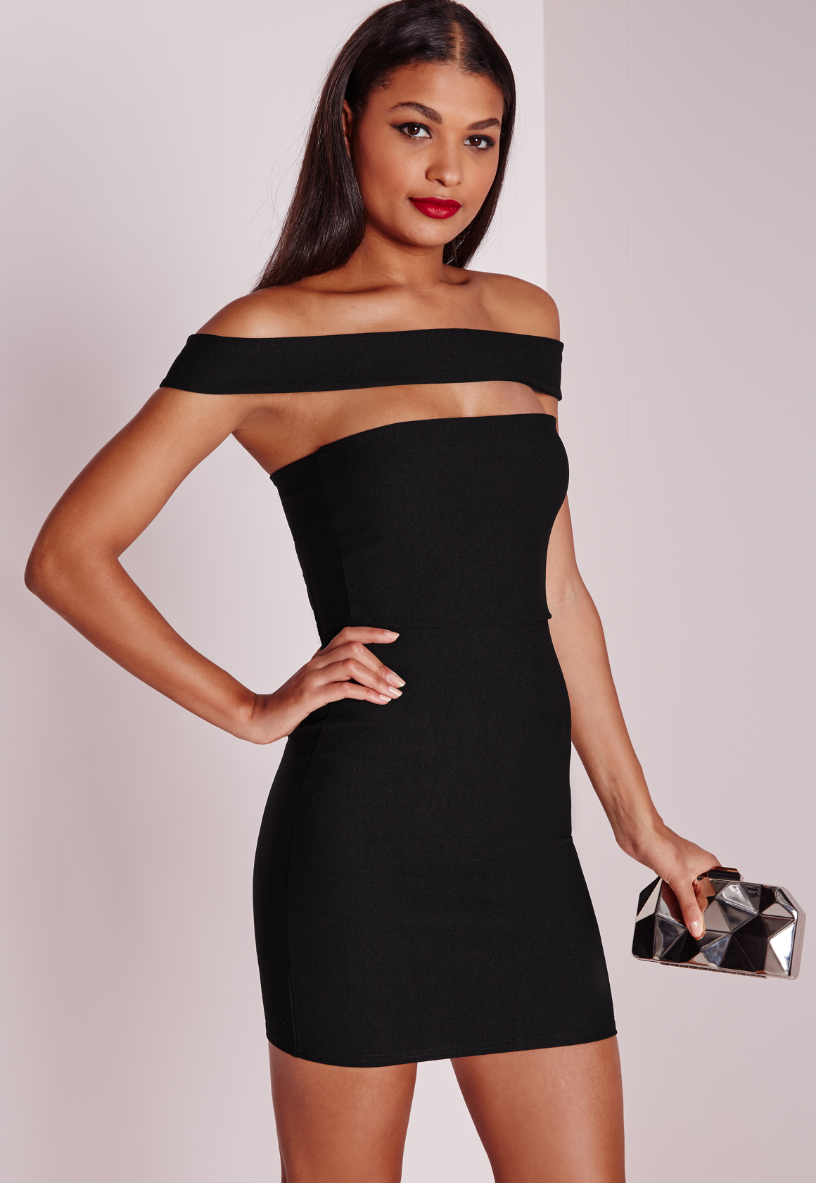 Missguided Petite Cut Out Panel Bardot Dress Black In
