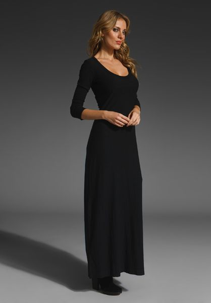 James Perse 3 4 Sleeve Maxi Dress In Black Lyst