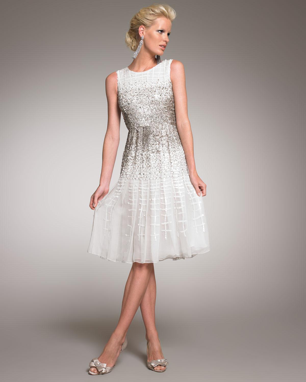 Lyst Oscar De La Renta Beaded Cocktail Dress In White