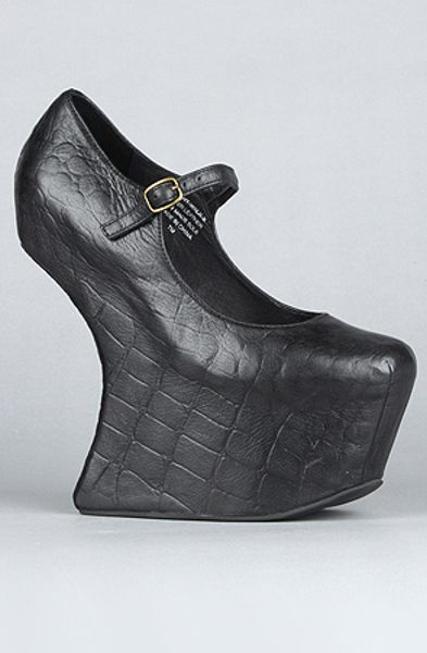 Jeffrey Campbell The Night Walk Shoe in Black Croc in Black