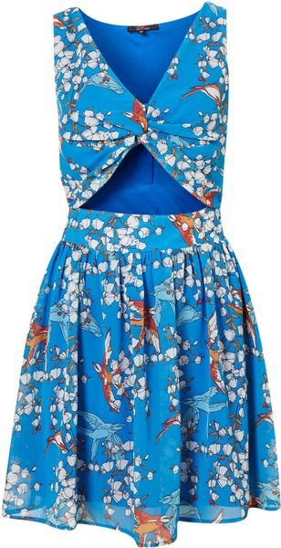 Topshop Printed Cut Out Dress By Rare in Blue (multi)