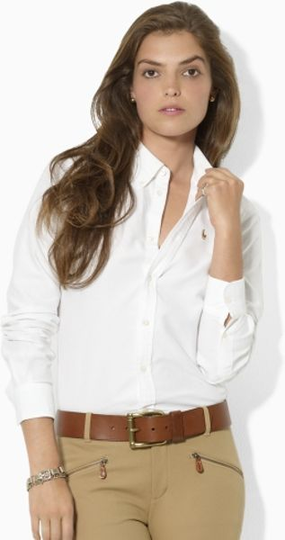 Ralph Lauren Blue Label Megan Solid Oxford Shirt in White - Lyst