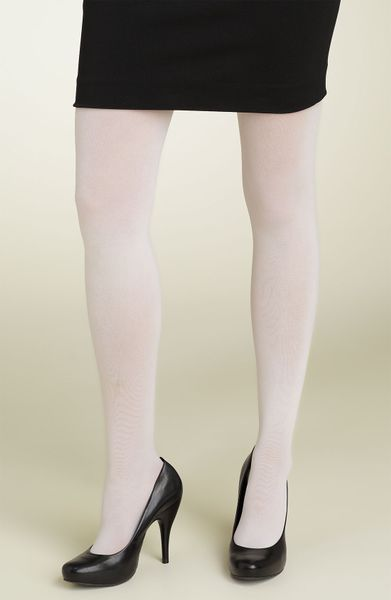 Dkny 412 Control Top Opaque Tights In White Ivory Lyst