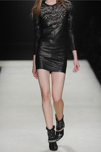 Isabel Marant Yumi Leather Dress In Black Noir Lyst