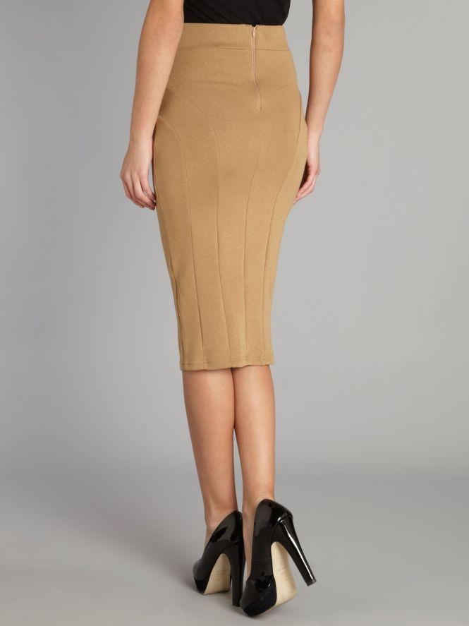Camel Pencil Skirt Wool - Skirts