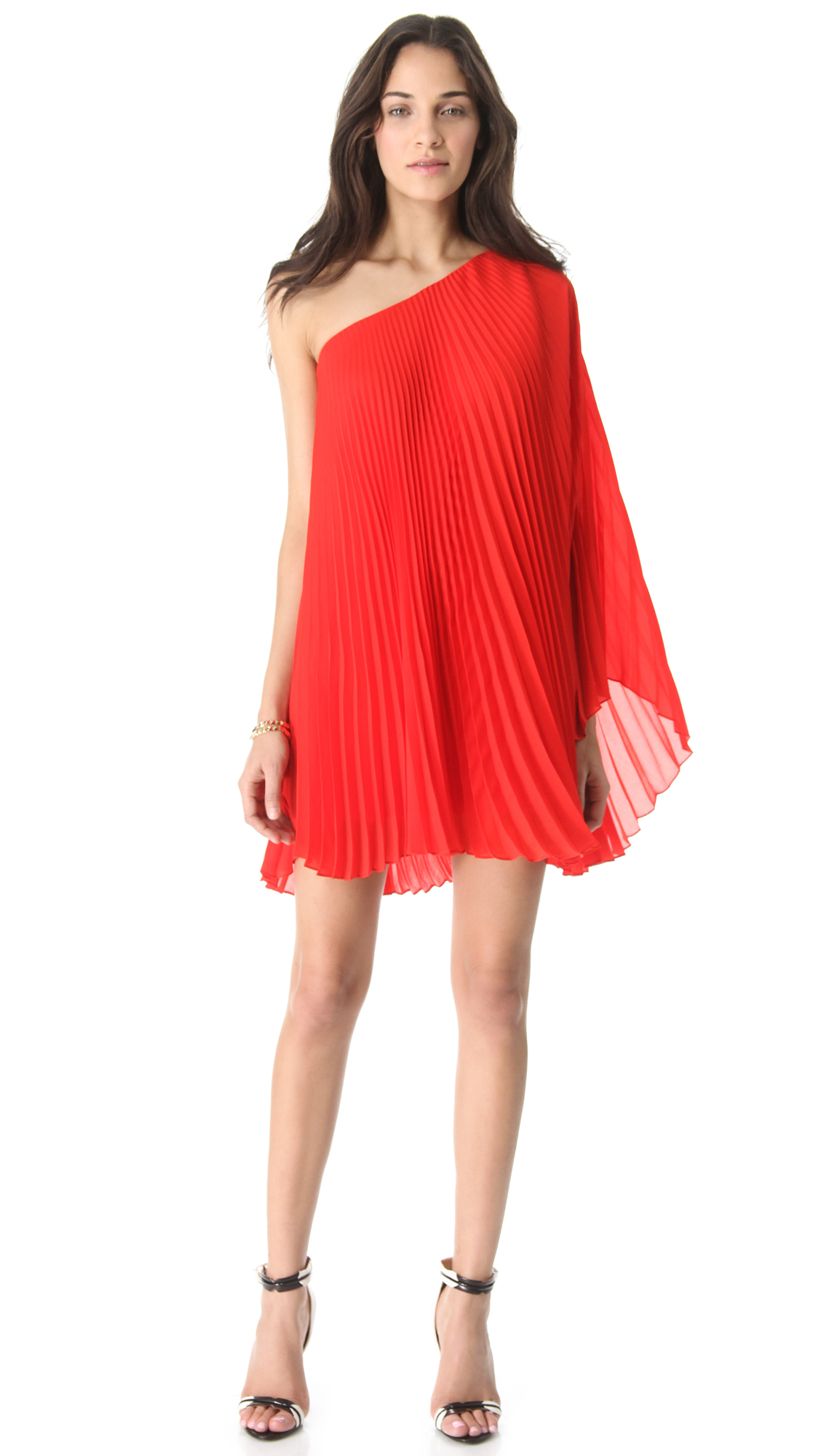 Milly Nicola Pleated One Shoulder Dress In Red