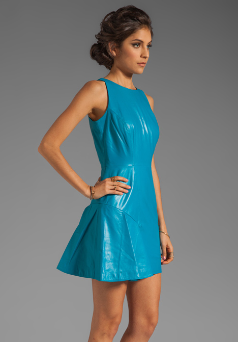 Milly Featherweight Kid Leather Saxon Dress In Aqua In