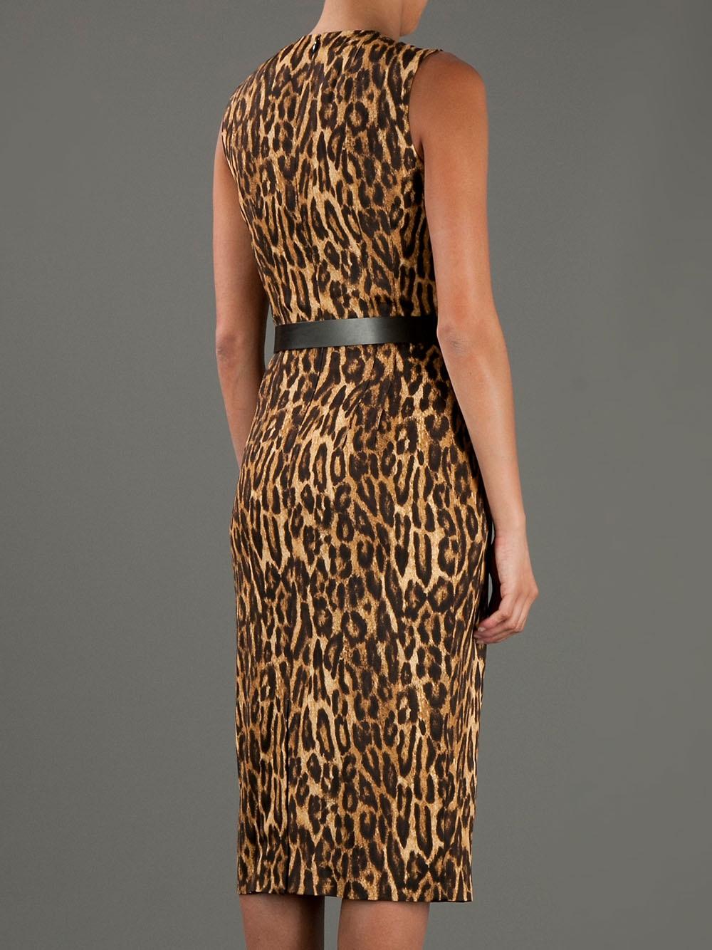 Michael Kors Leopard Print Dress In Brown Lyst