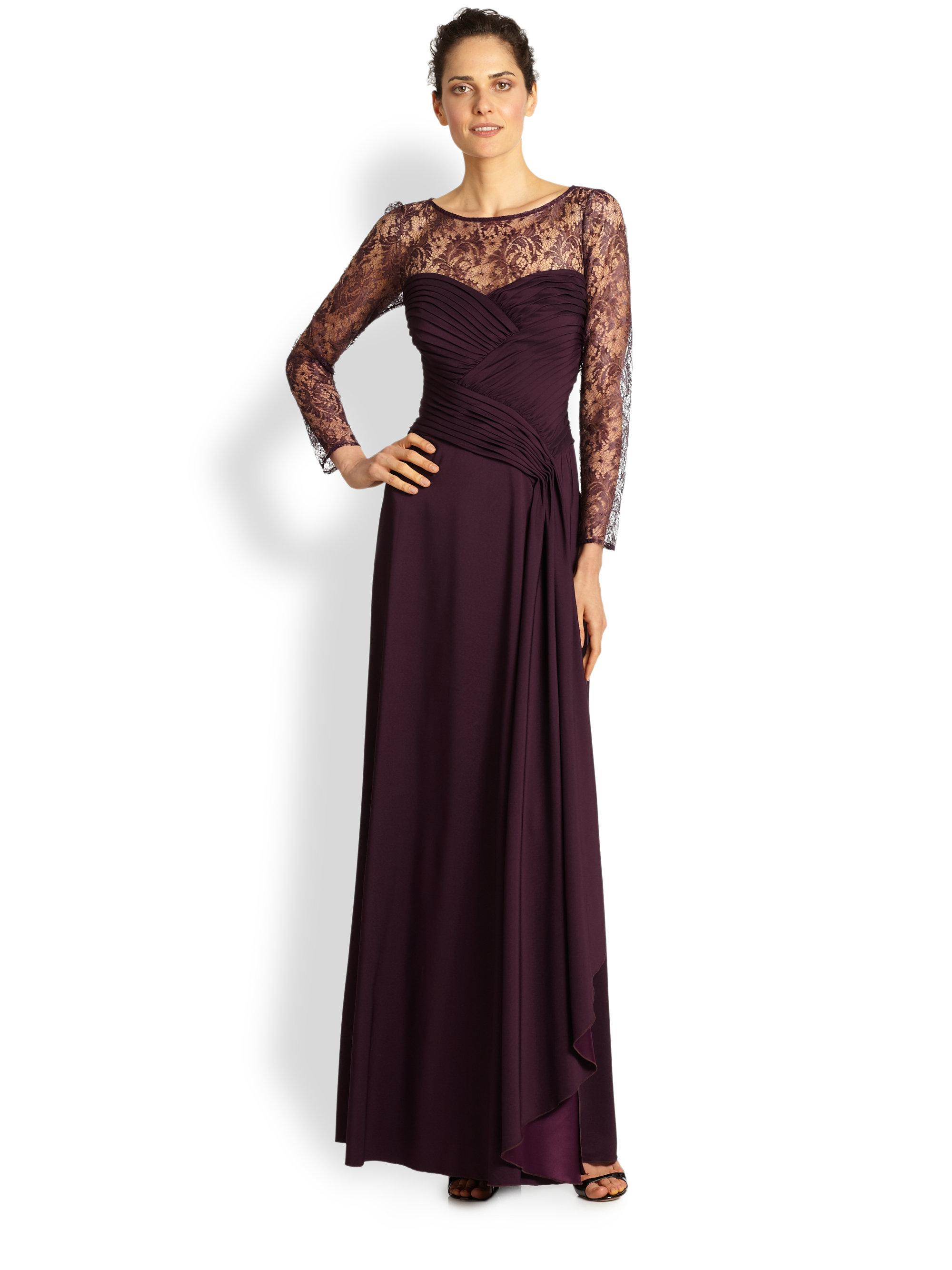 Lyst Tadashi Shoji Illusion Lace Gown In Purple