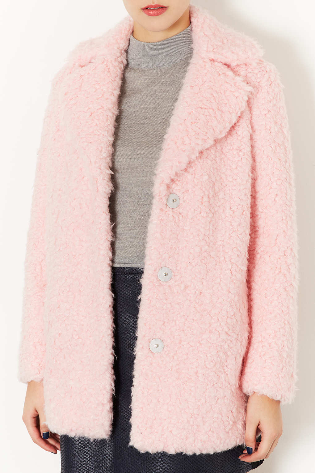 Lyst Topshop Teddy Fur Pea Coat In Pink