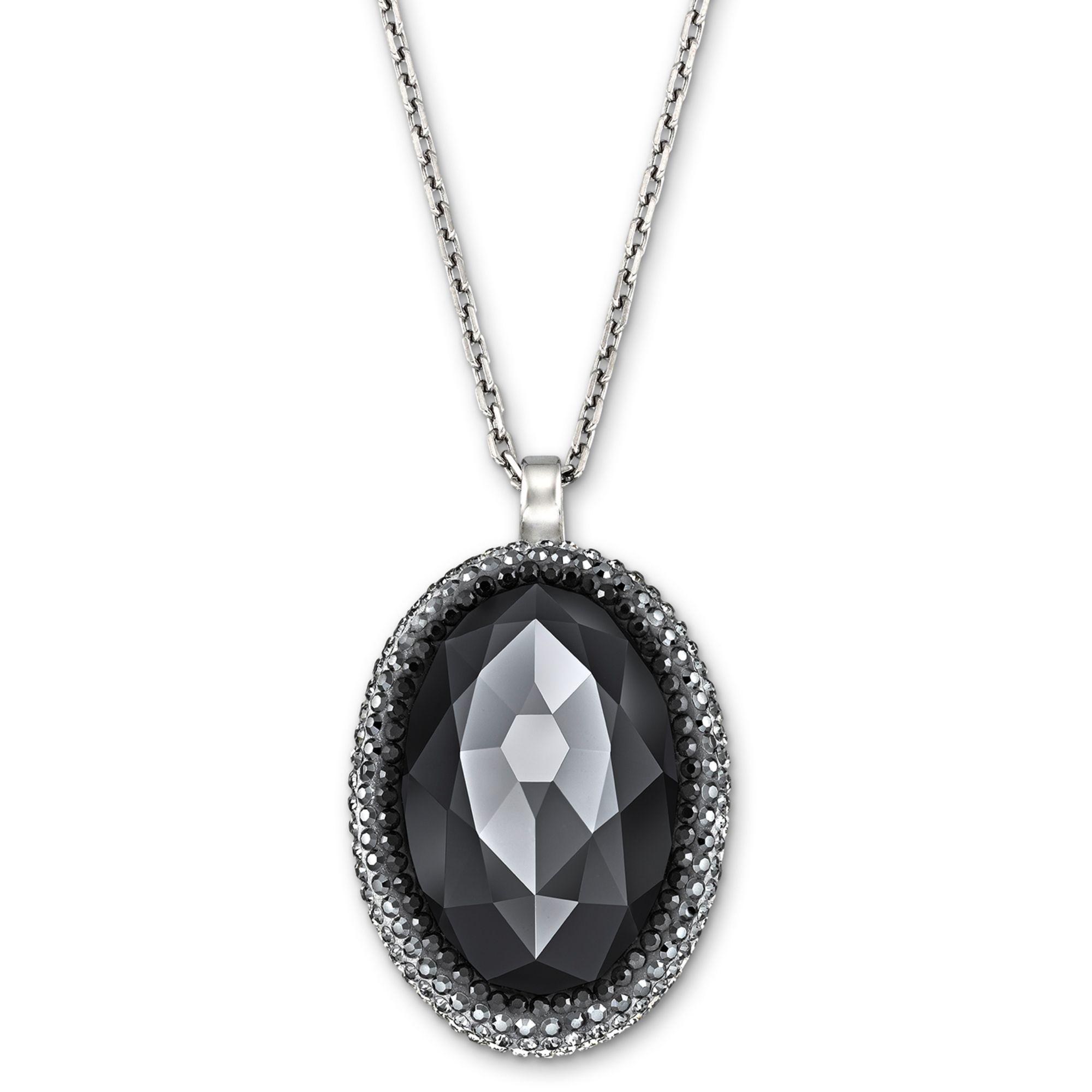 Swarovski Palladiumplated Black Crystal Oval Pendant