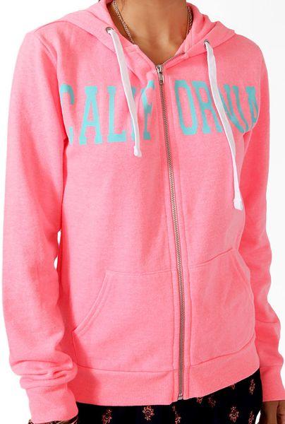 Forever 21 Cali Zip Up Hoodie Jacket In Pink Neon Coral