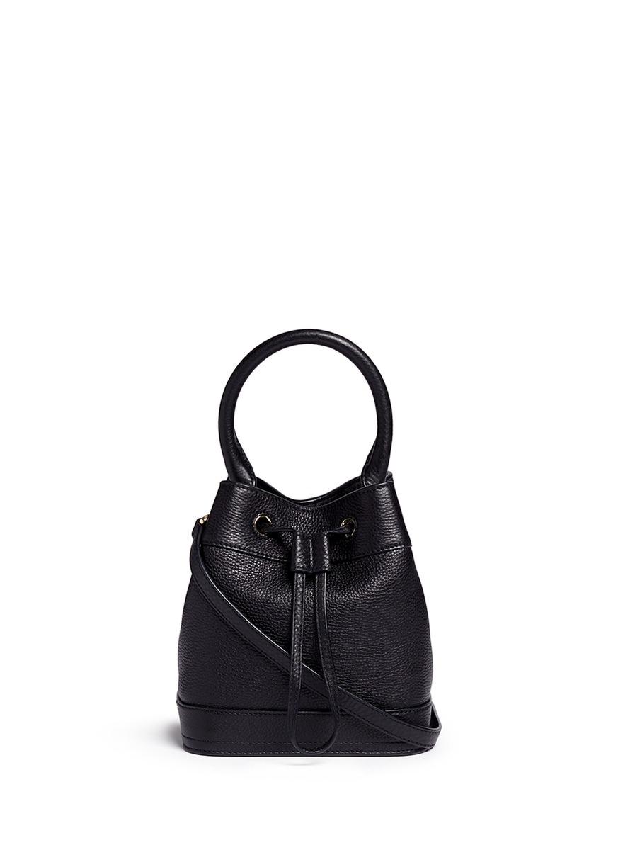 Tory Burch Robinson Leather Bucket Bag In Black Lyst