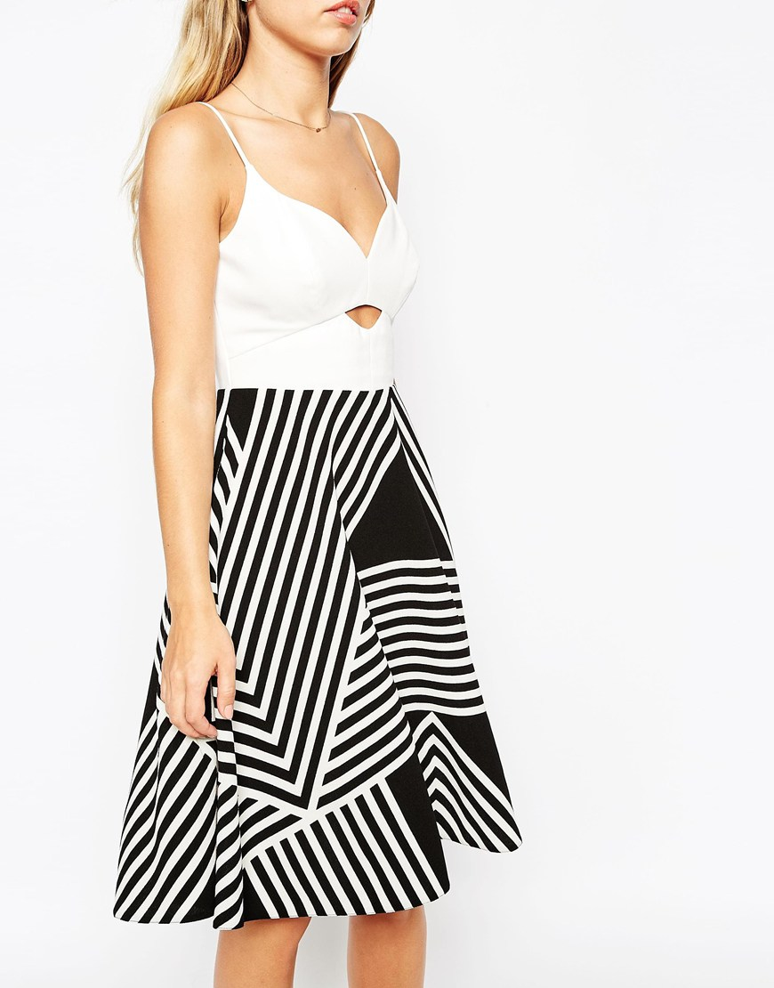 Asos Full Midi Dress With Cutabout Stripe Skirt In Black