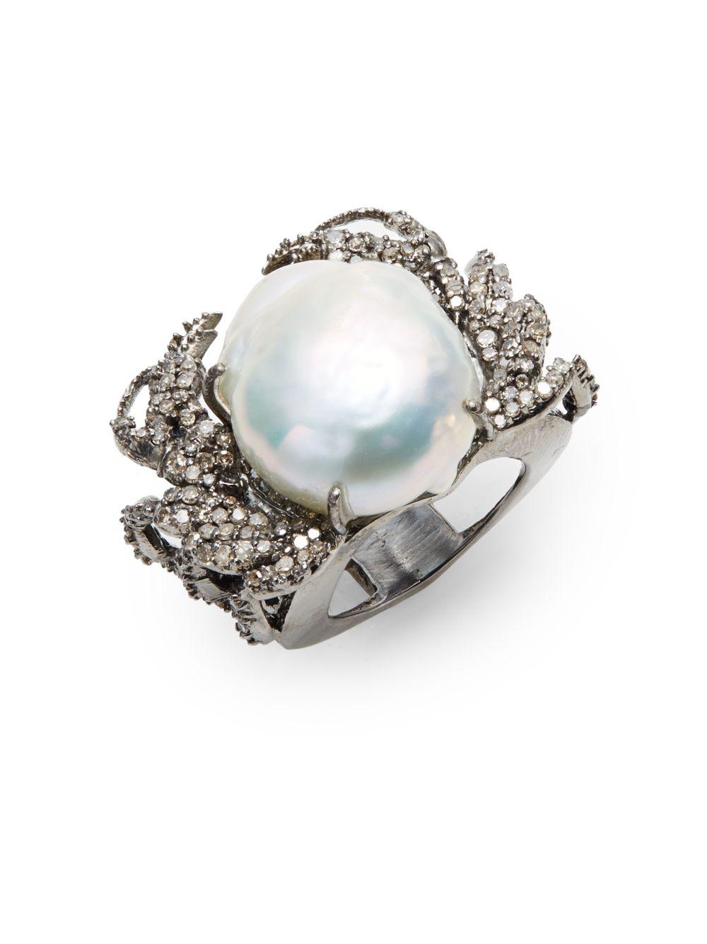 Lyst Bavna 12 16mm Freshwater Baroque Pearl Diamond