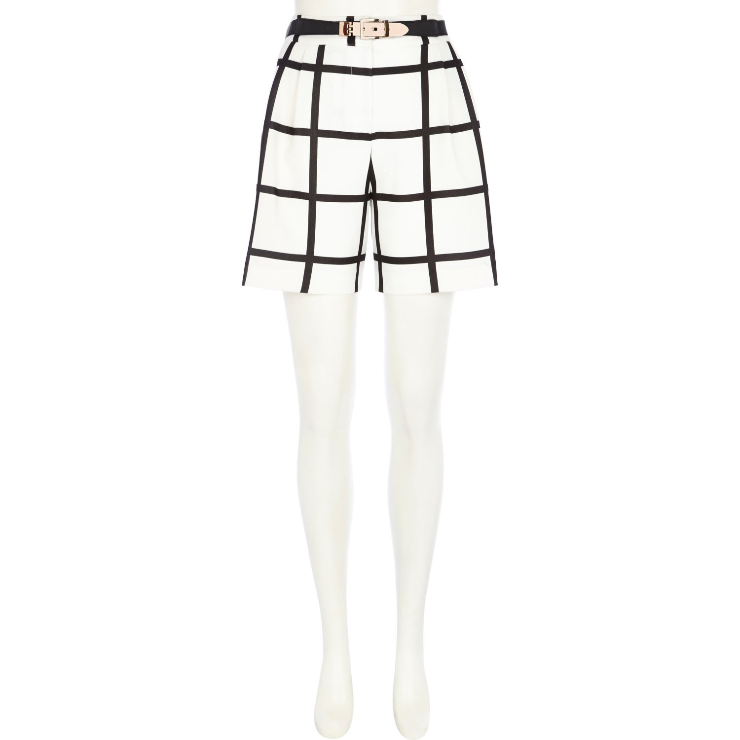 River Island Check Long Smart Shorts In White