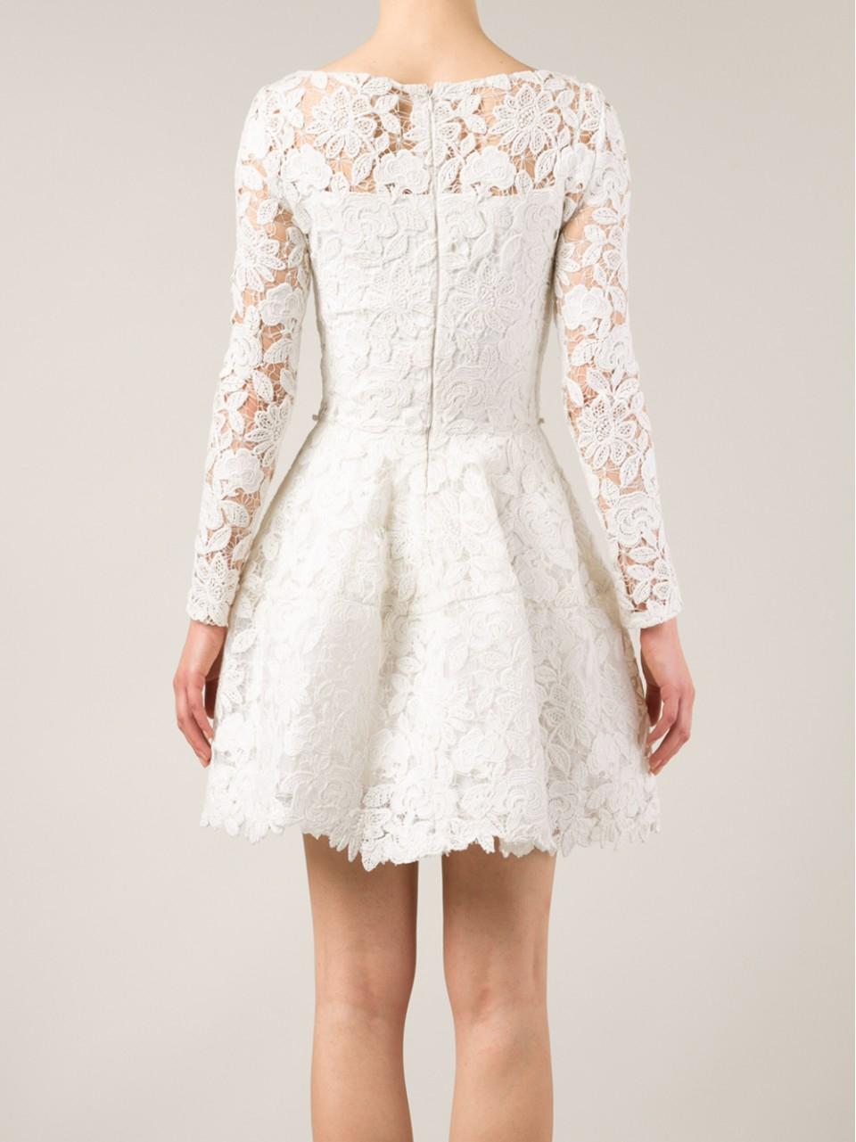 Lyst Oscar De La Renta Floral Lace Belted Dress In White