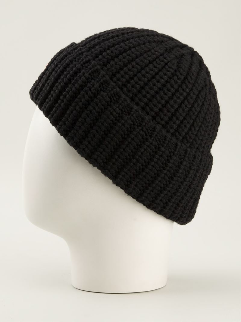 Lyst Moncler Ribbed Knit Beanie Hat In Black For Men