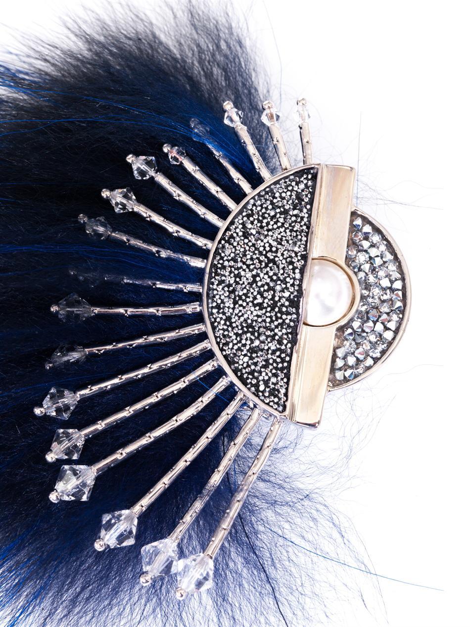 Fendi Fur And Crystal Brooch In Blue Lyst